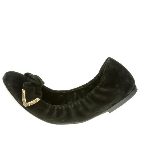 Louis Vuitton Black Suede Amulet Ballet Flats Size 36