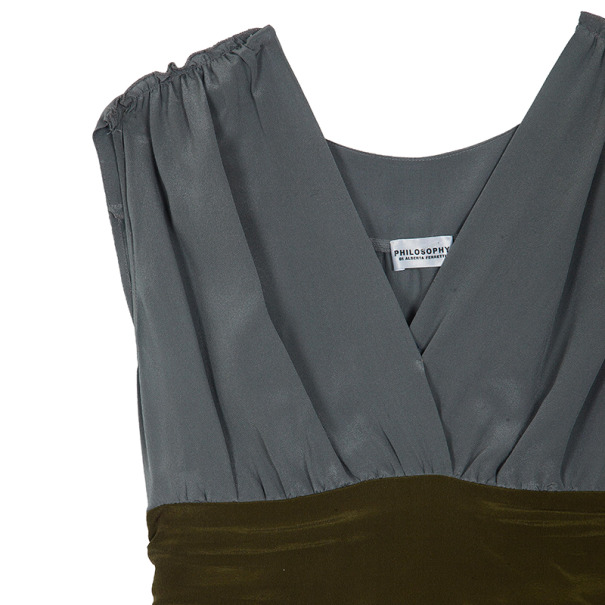Philosophy di Alberta Ferretti Silk Colorblock Sash Dress M