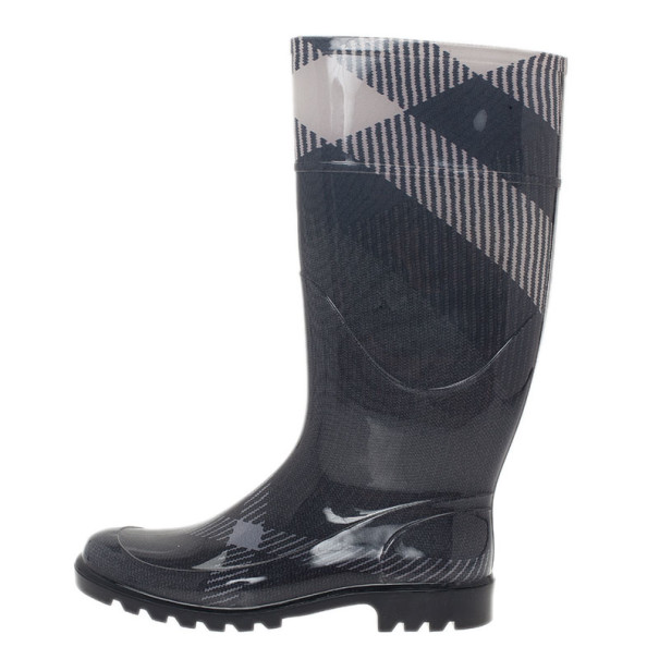 Burberry Grey Checked Wellington Rain Boots Size 37