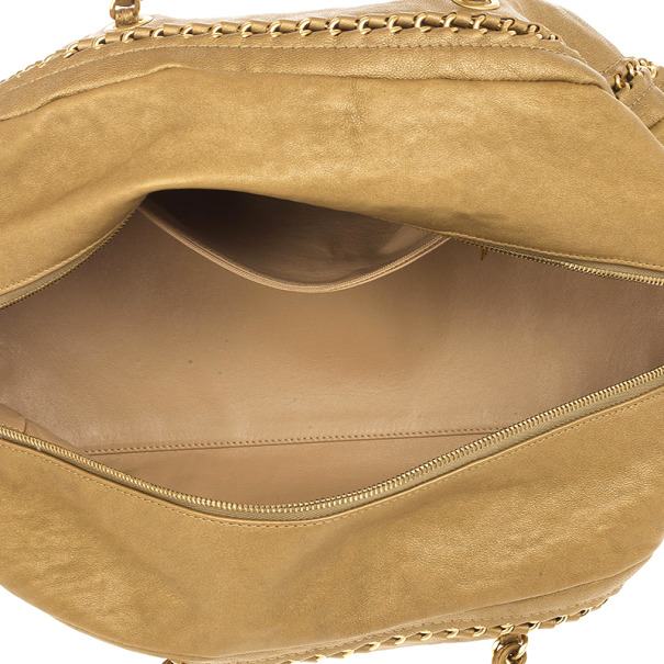 Chanel Luxe Ligne Beige Leather Chain Trim Large Bowler Boston Duffle Bag