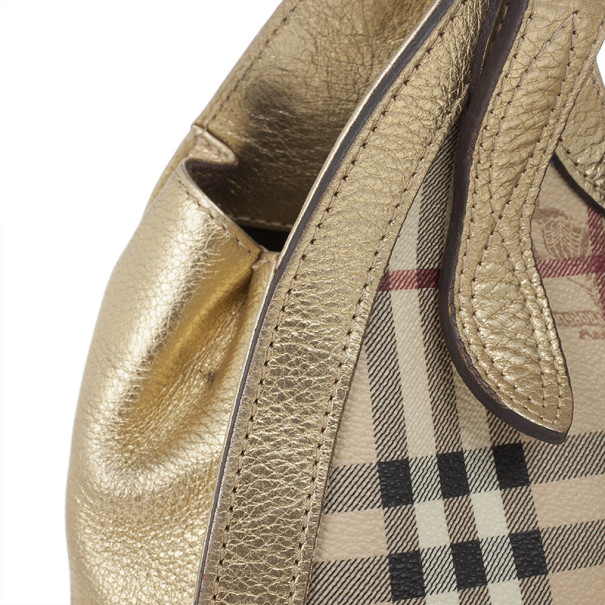 Burberry Classic Check Gold Ashbury Haymarket Tote