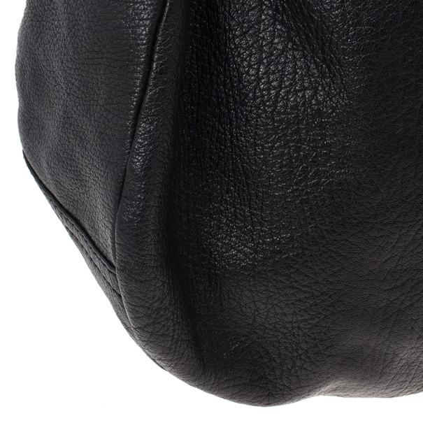 Jimmy Choo Black Leather Sky Studded Belt Hobo Bag