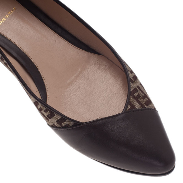 Fendi Brown Zucchino Leather and Canvas Ballet Flats Size 38