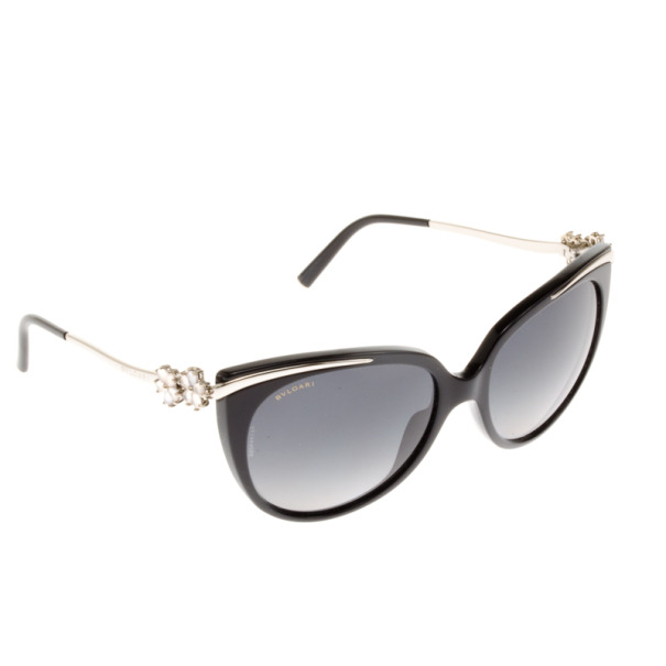 Bvlgari Black Crystal Flower Cat Eye Woman Sunglasses