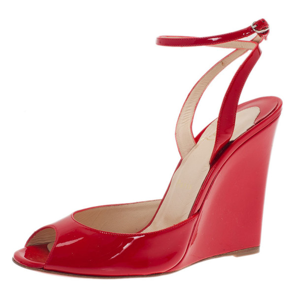 Christian Louboutin Red Patent Very Very Ankle Strap Wedges Size 38
