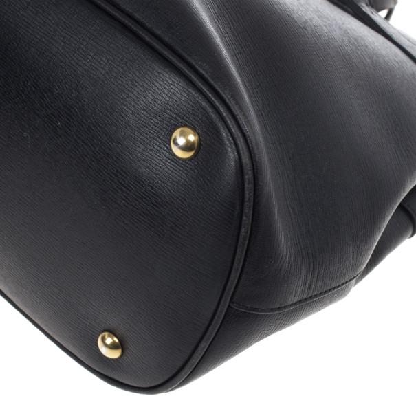 Gucci Black Leather Bright Bit Large Tote