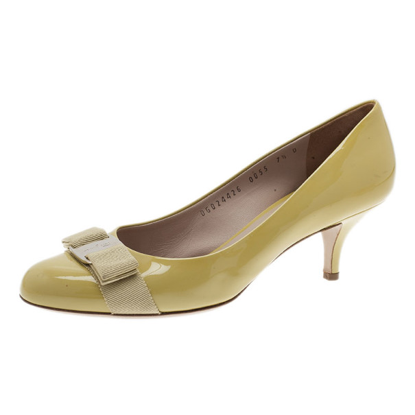 Salvatore Ferragamo Yellow Patent Carla Bow Pumps Size 38