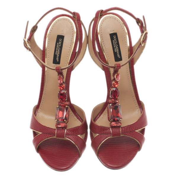 Dolce and Gabbana Red Jeweled Leather T Strap Sandals Size 39