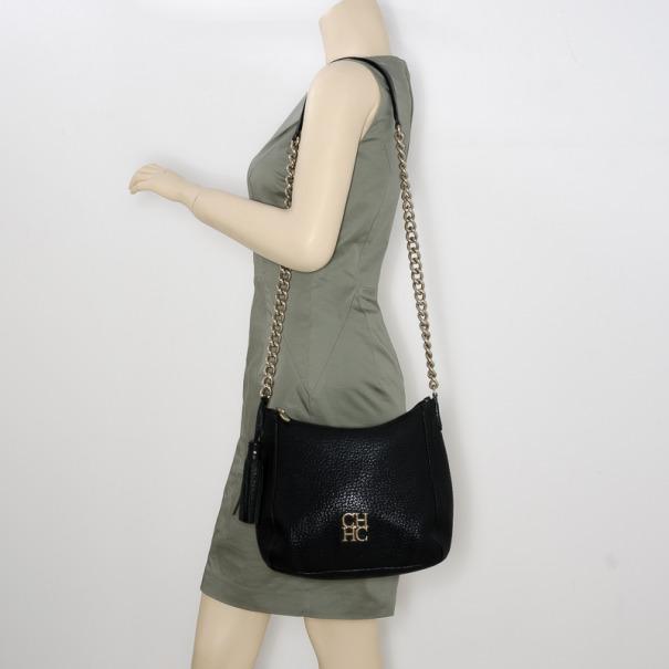Carolina Herrera Black Leather Maria Shoulder Bag
