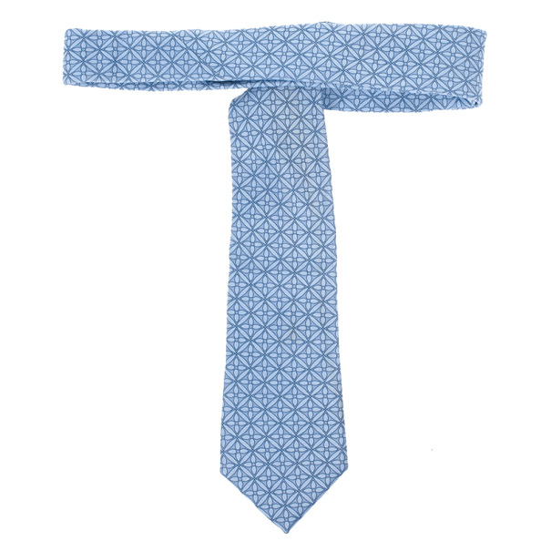 Louis Vuitton Blue Floral Print Tie