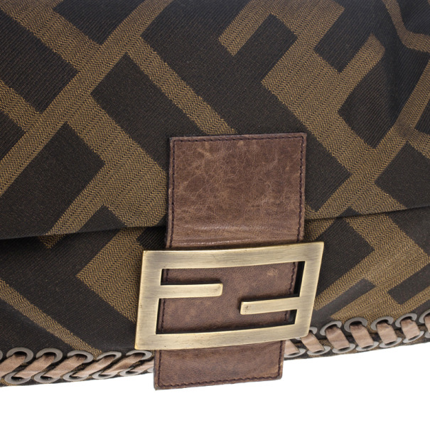 Fendi Brown Chain Zucca Baguette Flap Bag