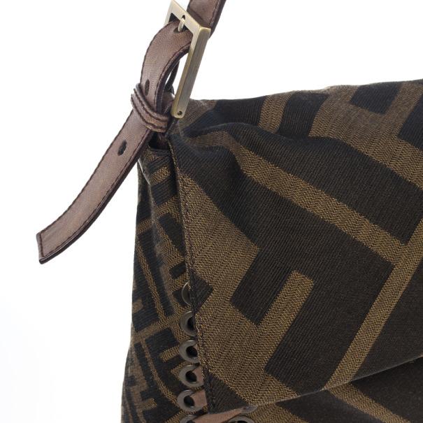 Fendi Brown Chain Zucca Baguette Flap Bag