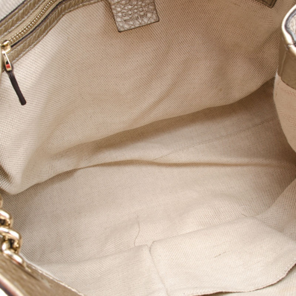 Gucci Gold Metallic Pebbled Calfskin Leather Soho Medium Tote