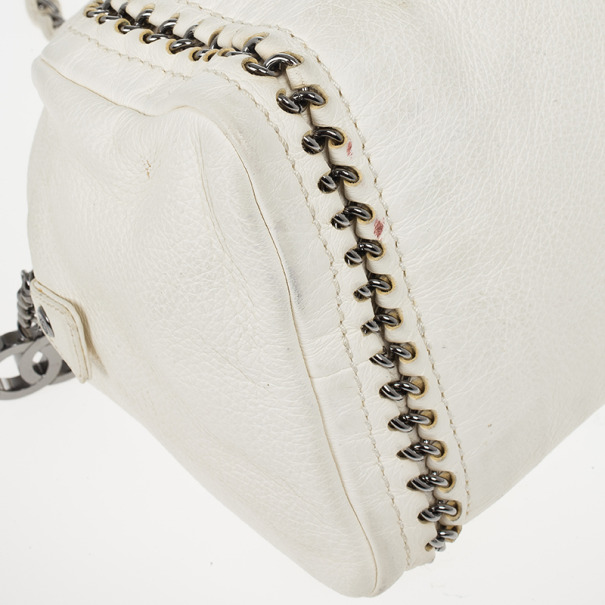 Chanel White Leather Chain Trim Luxe Ligne Bowler Boston Duffle Bag