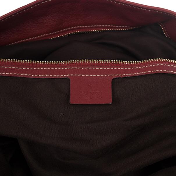 Gucci Red Leather Sabrina Large Hobo Bag