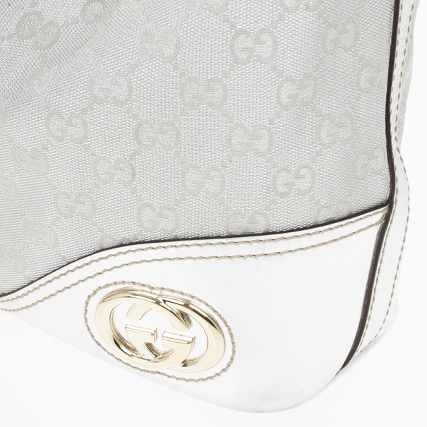 Gucci New Britt Silver Monogram Medium Hobo