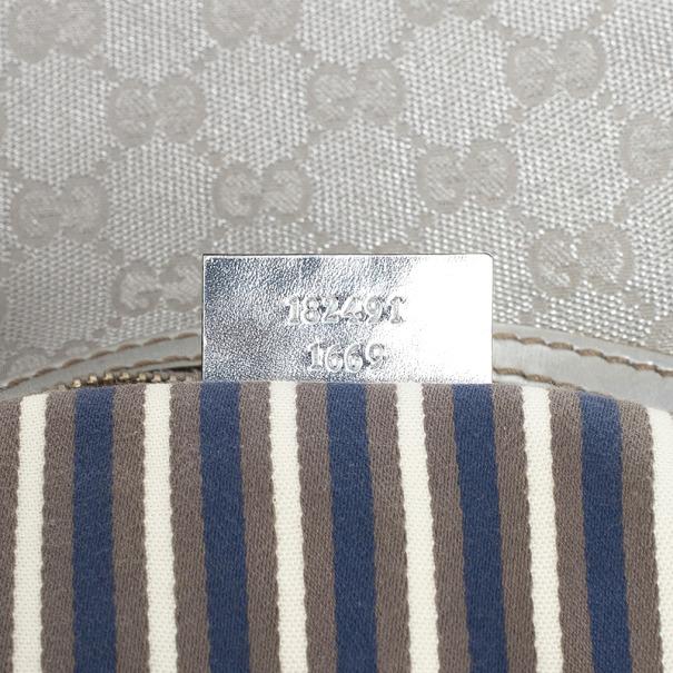 Gucci New Britt Silver Monogram Medium Hobo
