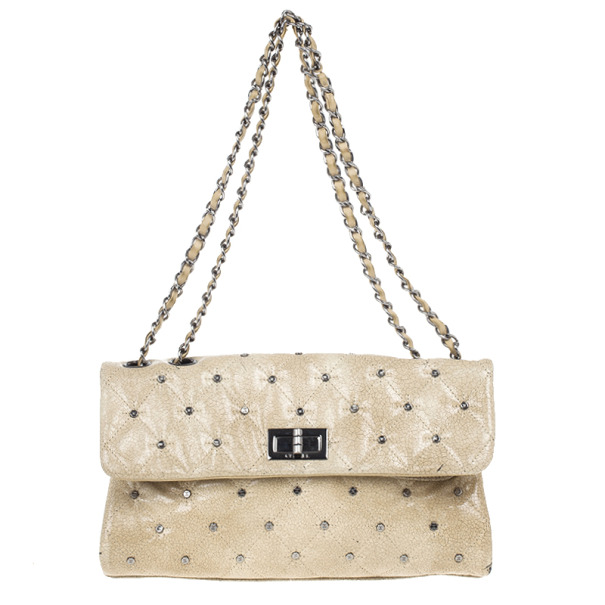 Chanel Beige Calfskin Glazed Crackled Studded Mademoiselle Flap bag