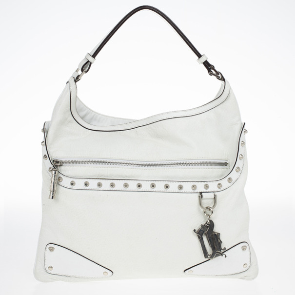 Versace White Studded Hobo