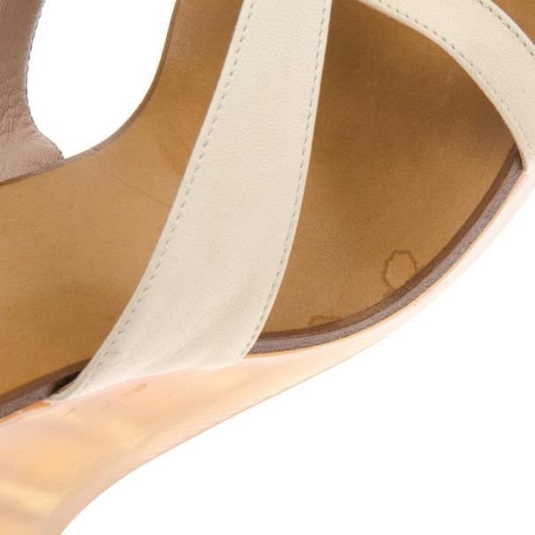 Chloe White Leather Gladiator Platform Sandals Size 39