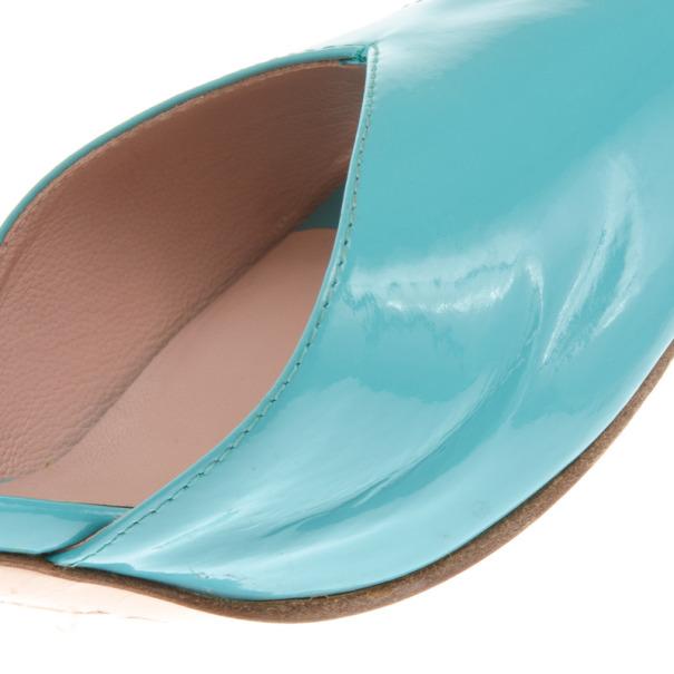 Chloe Blue Patent Peep Toe D'orsay Pumps Size 39