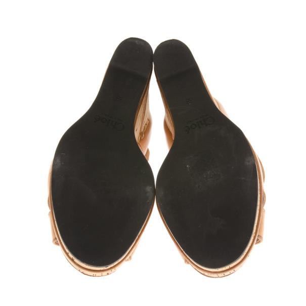 Chloe Beige Leather T Strap Cork Wedge Sandals Size 38