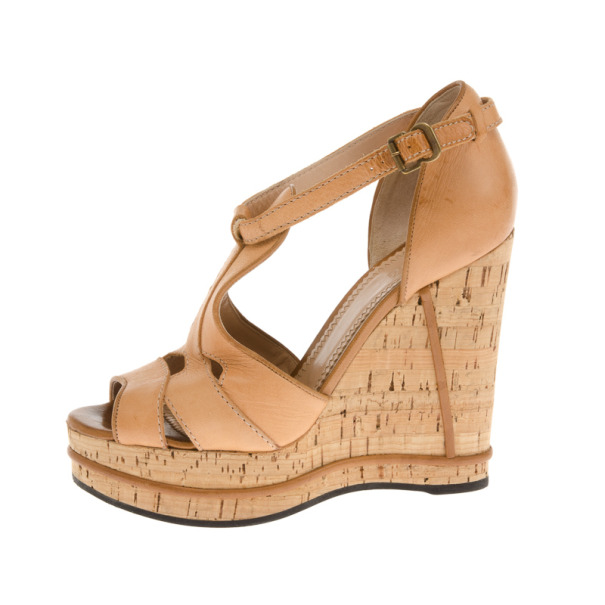 Chloe Beige Leather T Strap Cork Wedge Sandals Size 38