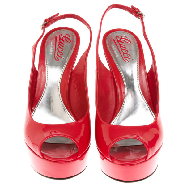 Gucci Coral Patent 'Sofia' Platform Slingback Wedges Sandals Size 37.5