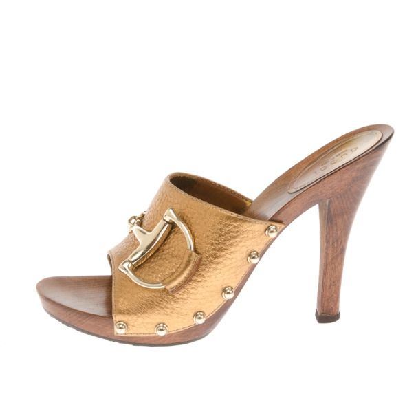 Gucci Gold Metallic Leather Icon Bit Clogs Size 38