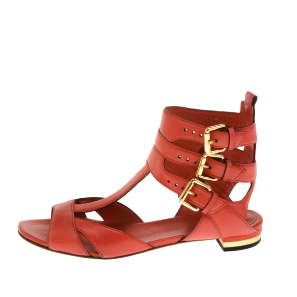 Gucci Coral Leather T Strap Iman Flat Sandals Size 38