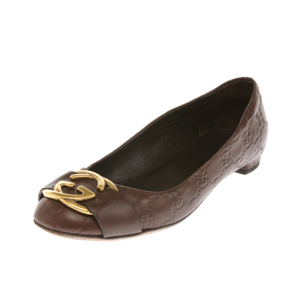 Gucci Brown Leather Guccissima Interlocking G Buckle Ballet Flats Size 37.5