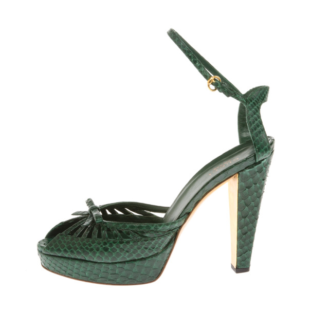 Gucci Green Cyclamin Python Platform Sandals Size 37.5