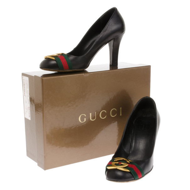 Gucci Black Leather Signature Web Interlocking G Buckle Pumps Size 38