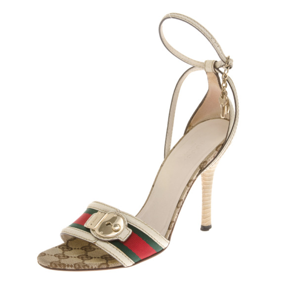 Gucci Web Detail Ankle Strap Sandals Size 37.5