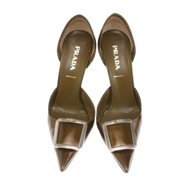 Prada Bronze Metallic Pointed Toe D'orsay Pumps Size 37