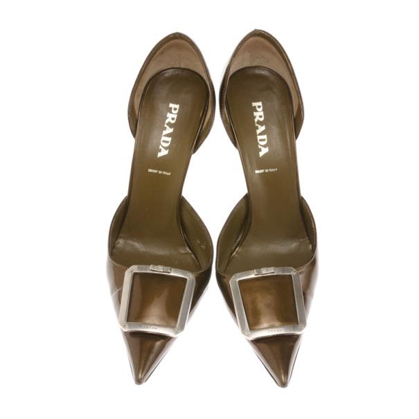 Prada Bronze Metallic Pointed Toe D'orsay Pumps Size 37