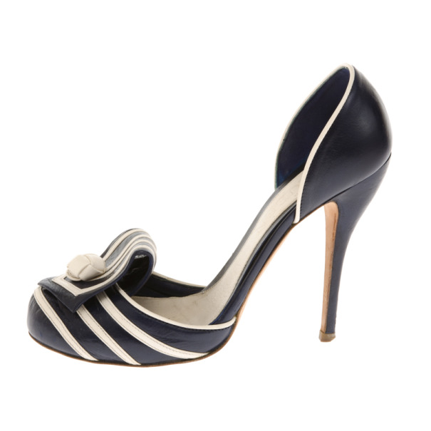 Alexander McQueen Blue Leather Knotted D'orsay Pumps Size 37