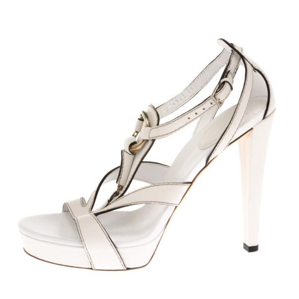Gucci White Leather Icon Bit Platform Sandals Size 37.5