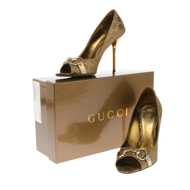 Gucci Brown Guccissima Horsebit Peep Toe Pumps Size 38