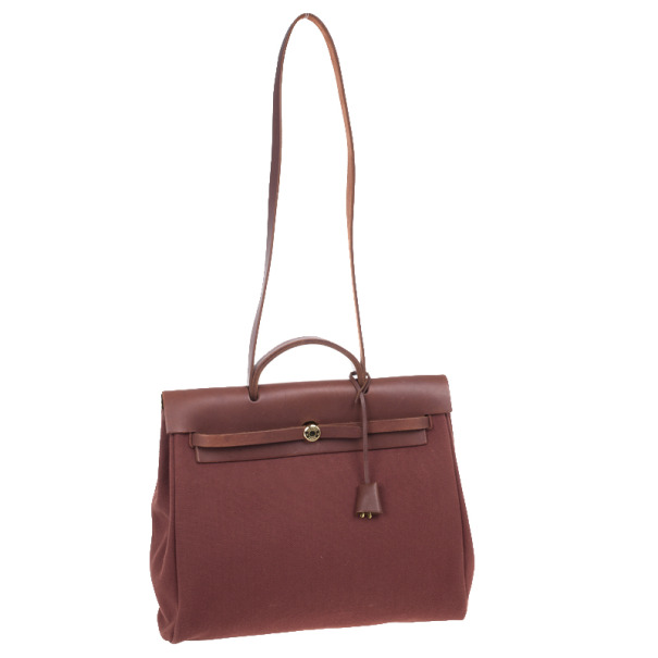 Hermes Brown Herbag Convertible Satchel 39CM