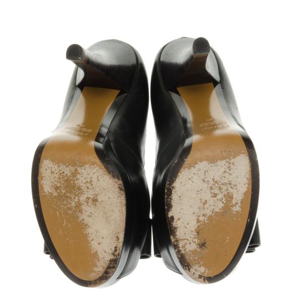 Fendi Black Leather Bow Detail Platform Pumps Size 36