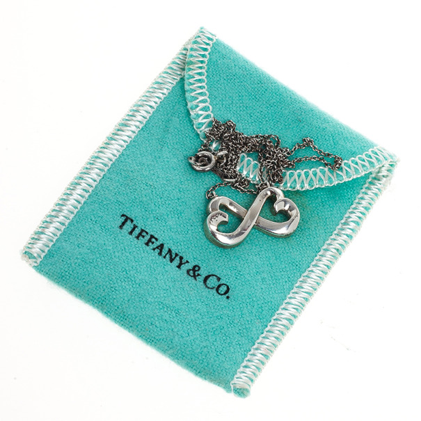 Tiffany & Co. Paloma Picasso Double Loving Heart Silver Pendant Necklace