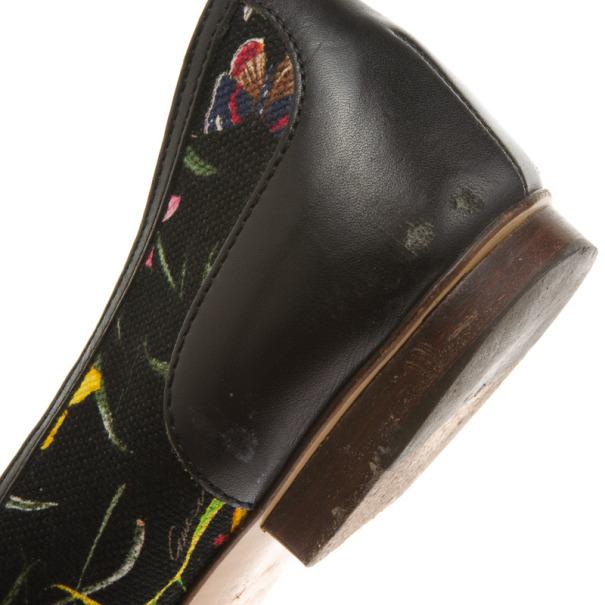 Gucci Black Flora Bamboo Horsebit Ballet Flats Size 41