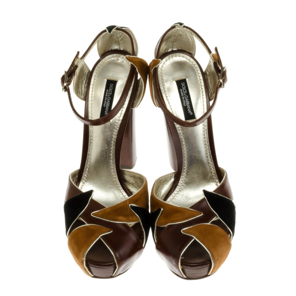 Dolce and Gabbana Brown Suede & Leather Sandals Size 37.5
