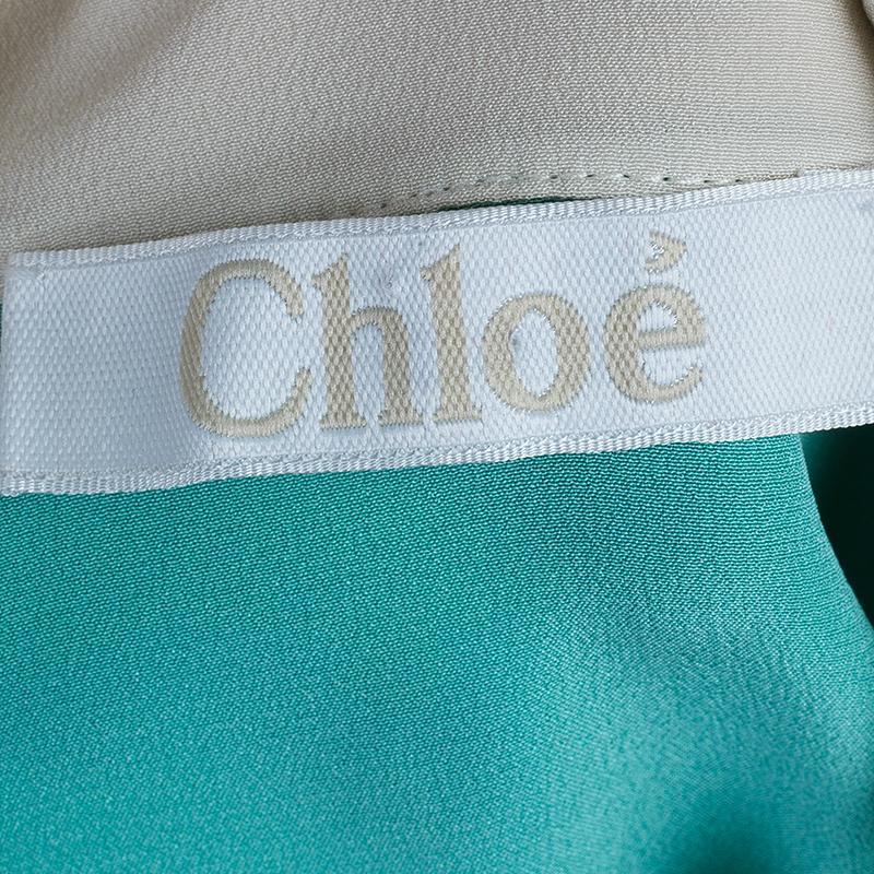 Chloe Bicolor Silk Peter Pan Collar Top L