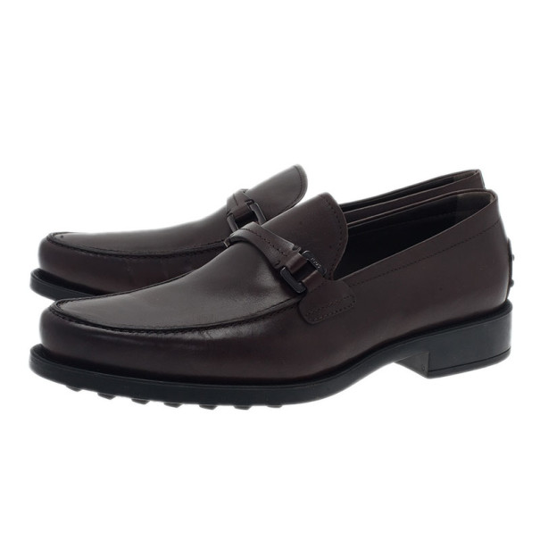 Tod's Brown Leather Saddle TT Buckle Loafers Size 42.5