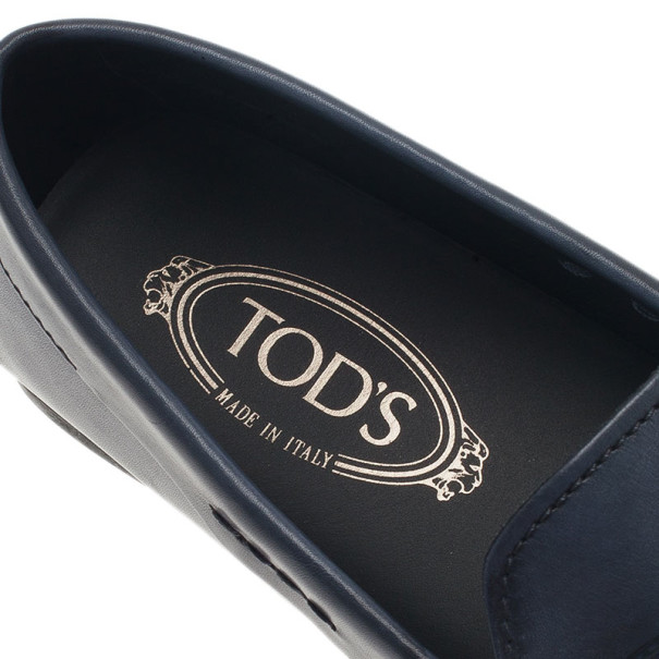 Tod's Navy Blue Leather Penny Loafers Size 43