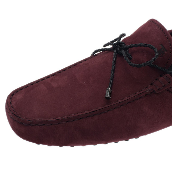Tod's Burgundy Suede Bow Gommino Loafers Size 42