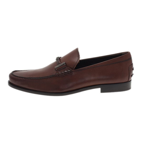 Tod's Brown Leather Horsebit Buckle Loafers Size 44.5