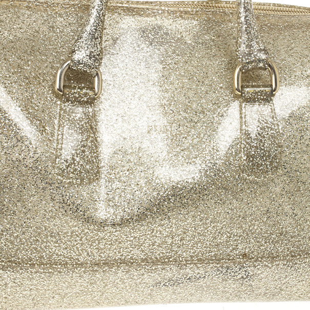 Furla Gold Glitter Candy Rubber Satchel
